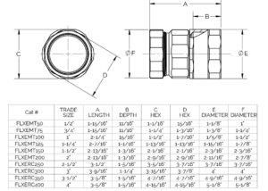 Flex to EMT Adapter Dimensions